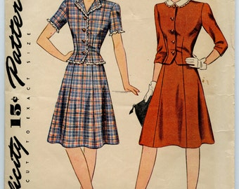 1940s Simplicity 4637 Misses Teen-Age Two Piece Dress Fitted Jacket Flared Skirt Vintage Sewing Pattern Bust 28