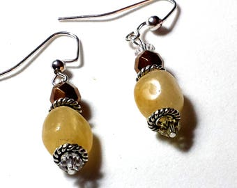 Butterscotch Jade Gemstone Drop Earrings Brand NEW!