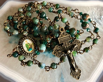 Beautiful Vintaj Brass Wire Wrapped St.Patrick Rosary! Lovely, Durable...