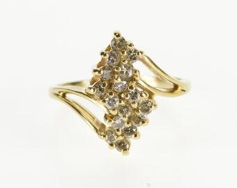 14K 0.50Ctw Diamond Wavy Zig Zag Cluster Freeform Ring Size 6.75 Yellow Gold