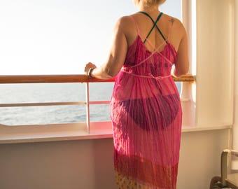 Deep pink & gold Maxi dress, Sheer pure silk chiffon long boho goddess dress, Luxury beach cover up, fairy, Game of Thrones