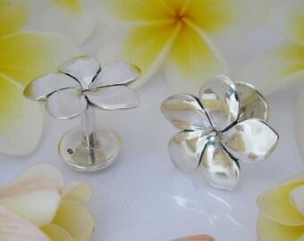 Silver Frangipani Plumeria Flower Hawaiian Cuff Links , Hand Made Solid Silver