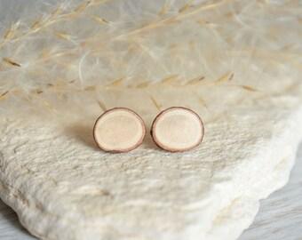Minimalist wooden earrings, natural wooden jewelry, wooden studs, white wood slice earrings, branch slice jewelry, sterling silver wood post