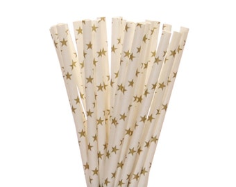 Paper Straws, Gold Star Paper Straws, Glam Bridal Shower, Shabby Chic Sweet 16, Golden Birthday Straw, Gold Anniversary, Rock Star Straws