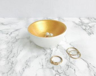 White + Gold Jewelry Holder | Ring Holder | Engagement Ring Holder | Ring Bowl | Earring Holder | Earring Bowl