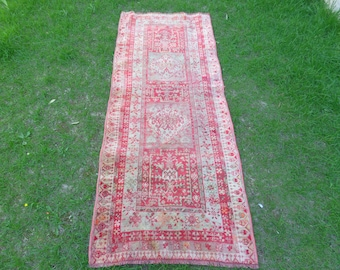Oushak Runner Rug, Vintage Runner Rug, Turkish Runner Rug, Oushak Rug Runner, Hallway Rug, Kitchen Rug