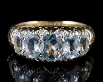 Aquamarine Diamond Ring 9ct Gold