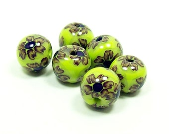 NOW ON SALE Flowers on Lime Green - Handmade Polymer Clay Beads