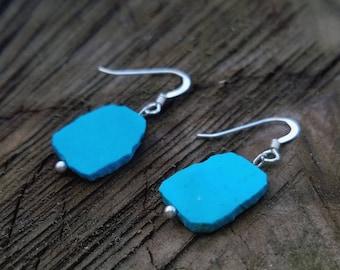 Natural Turquoise Earrings, One of a kind Earrings, Boho Style Earrings, Gift for mom, Southwest Earrings, Everyday Gemstone Earrings