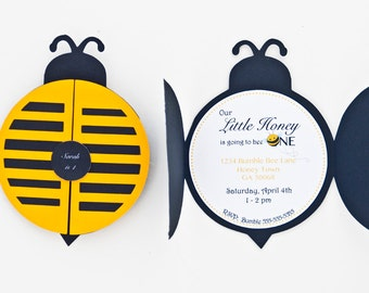 Bee birthday party etsy set of 12 bumble bee party invitation bumble bee 1st birthday party bumble filmwisefo Images