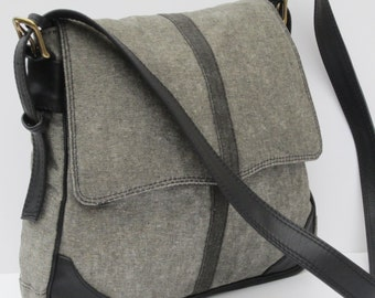 WAXED DENIM SADDLEBAG by Elizabeth Z Mow  Grey on Gray with Leather
