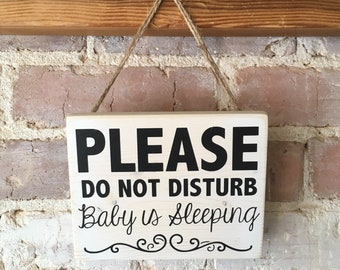Please Do Not Disturb -  Baby is Sleeping; Naptime door hanger sign; whitewashed wood with black vinyl lettering and burlap twine; nap sign