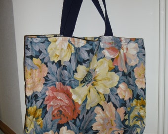 Unique floral pattern upcycled tote bag