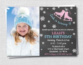 Chalkboard Ice Skating Photo Birthday Invitation - Ice Skating Party - Girl Birthday - Digital Design or Printed Invitations - FREE SHIPPING