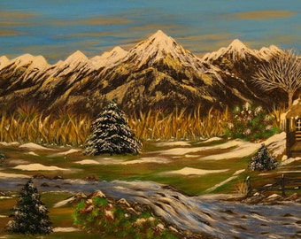 Landscape art, Winter landscape painting, Winter cabin art, Winter cabin print acrylic, Nature wall art