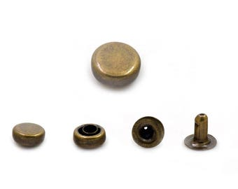 100 pcs Antique Brass Tablet Rivets Studs Round Buttons Rivet Leather Crafts Fashion Decor DIY Findings Supplies 6 mm. TBR BR6 25AWY
