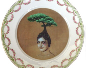 """The Healing Tree - Altered Vintage Plate 10"""""""