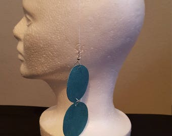 Leather Turquoise 2 Tier Earrings