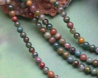 12 round beads 4 mm Indian agate gemstone