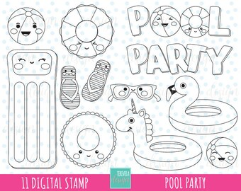 50% SALE POOL digital stamps, summer digi stamps, commercial use, pool coloring page, kawaii summer, pool graphics