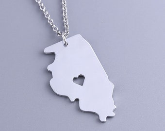I heart Illinois Necklace - Illinois Pendant - Map necklace - State Charm - Map Jewelry