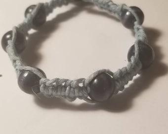 Light blue hemp with dark blue wood beads