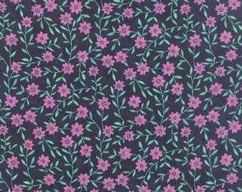 Moda Fabric - Tucker Prairie - One Canoe Two - 36004 11 - Navy/Floral - 100% cotton fabric - Fabric by the yard(s)
