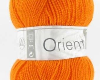 East # 271 orange horse white baby yarn