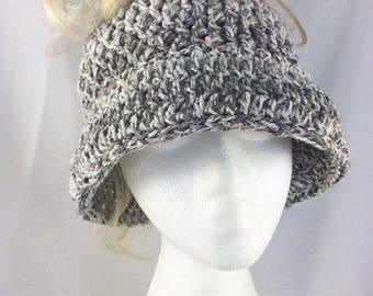 cotton messy bun hat, summer ponytail hat, crochet sun hat, women sun hat, cotton ponytail hat, wide brim hat, cotton beach hat, summer hat