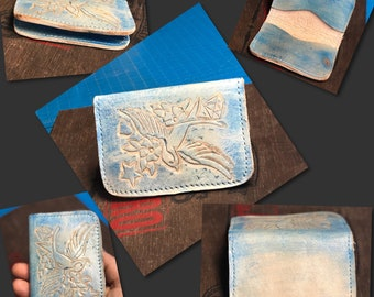 Hand Carved and Painted Bi-Fold Sailor Swallow Leather Card Wallet