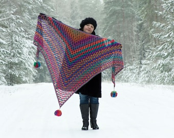 Crochet Triangle Shawl with Pom-Poms -Rainbow Shawl, Colorful, Purple, Blue, Orange...