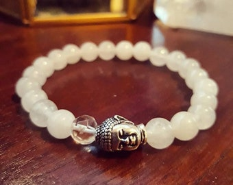 Buddha Bracelet -  White Jade Bracelet with Quartz Crystal Mala Bead and Silver Buddha Head, Yoga Bracelet for Mindfulness and Manifesting