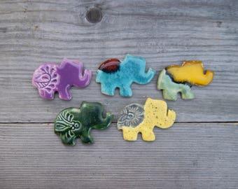 Elephant fridge magnets, ceramic refrigerator magnets, Turquoise elephant, Green elephant, ceramic elephant magnet, cute fridge magnet