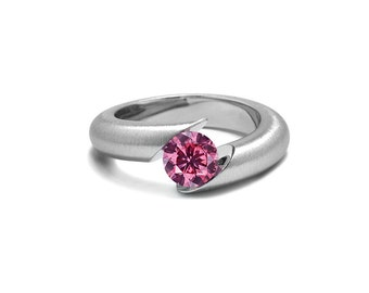 Pink Sapphire Tension Set Ring Tapered Mounting in Stainless Steel