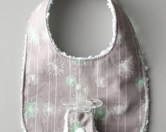 Baby Binky Bib in Riley Blake Good Natured Dandelion Fabric with Chenille Back