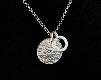 Sterling Silver Necklace - Silver Hammered Pendant - Sterling Silver Charm Drops - Silver Hammered Ring Charm - Hammered Silver Disc Charm