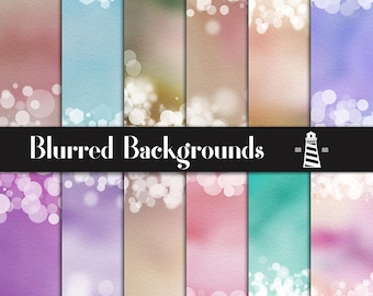 Soft Blurred Backgrounds, Blurred Papers With Bokeh Borders, Colorful Blurred Papers, Bokeh Confetti, Invites, Card Making, BUY7FOR10