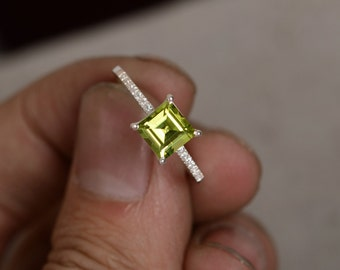Natural Peridot Ring August Birthstone Ring Gemstone Ring Gift For Her Bride Ring Sterling Silver Ring