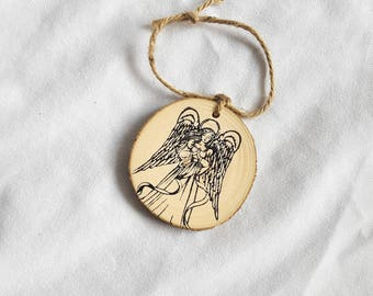 Angel wood slice Christmas ornament
