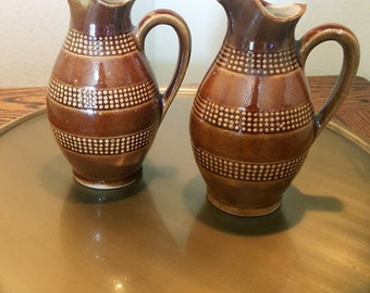 Vintage Small Brown Pitchers