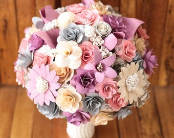 Wooden Flowers Bouquet- Gray, Lavender, Pink, Music Sheet  Rustic  Wooden Bouquet for Wedding and Home Decor Centerpiece