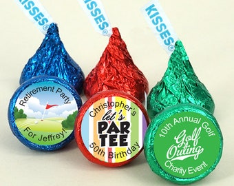 Golf Themed Hershey's Kisses Favors, Chocolate Wedding Favors, Golf Outing Favors - Set of 100