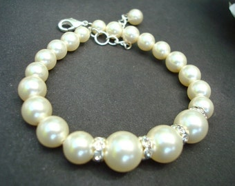 Pearl Bridal Bracelet, Ivory Swarovski Pearls, Bridal Rhinestone Bracelet, Bridal Classic Bracelet, Statement Bridal Bracelet, Cuff, ROZLIN