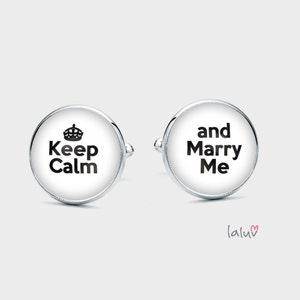 bouton de manchette keep calm and marry me