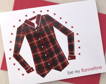 Valentines Day Card - Be My Flanneltine Valentines Cards for Her - Flannel Shirt Valentine Card for Wife, Girlfriend
