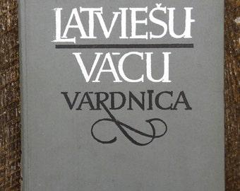 old dictionary book German Latvian language conversation book yellowish pages supplies paper ephemera rare edition Latvia vintage large size