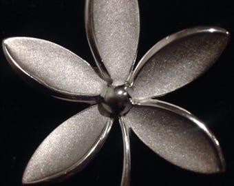 Crown Trifari silver tone plumeria brooch