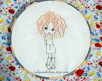 Girl with Curly Hair in Boots (applique optional), Hand Embroidery PDF Pattern