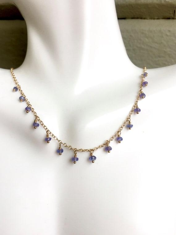 Tanzanite Necklace, Delicate Tanzanite Necklace,  Minimalist Jewelry,  Crown Chakra Jewelry, Tanzanite Necklace, Layering Necklace