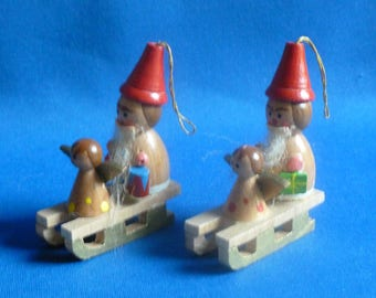 Vintage Wooden Sled Ornaments with Santas, Angels, amd Toys